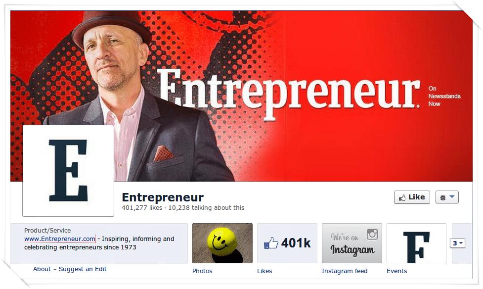 Entrepreneur Facebook page