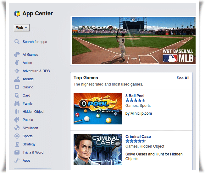 App Center in Facebook