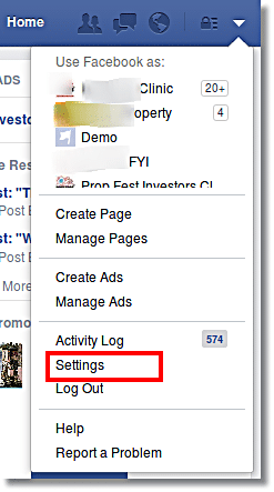 Choose Setting in Facebook