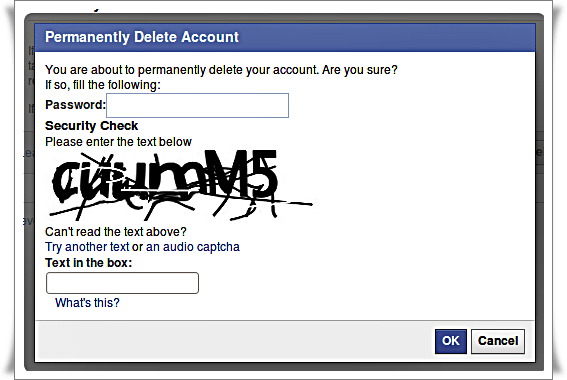 Delete Facebook Account - Pop up Enter pass and Security code