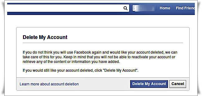 Delete Facebook Account - pop up