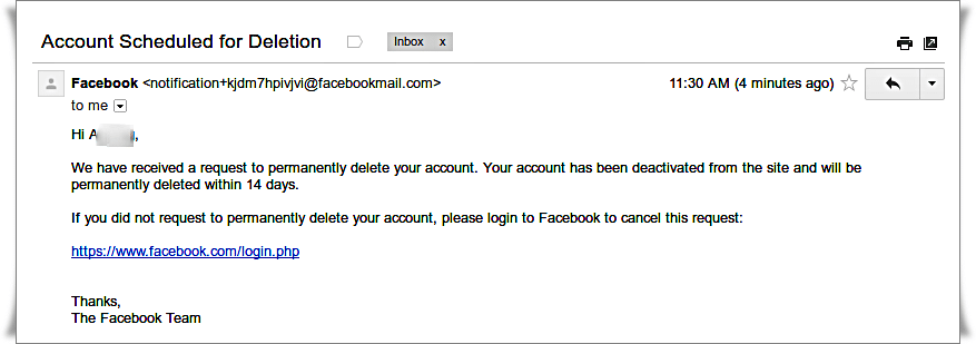 Delete Facebook account - Read email