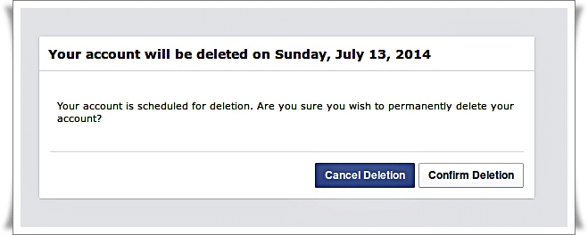 Delete Facebook account - login again - pop up to cancel deletion confirm deletion