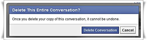 Delete conversation in Facebook - 2