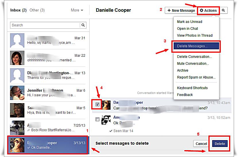 Delete message in Facebook