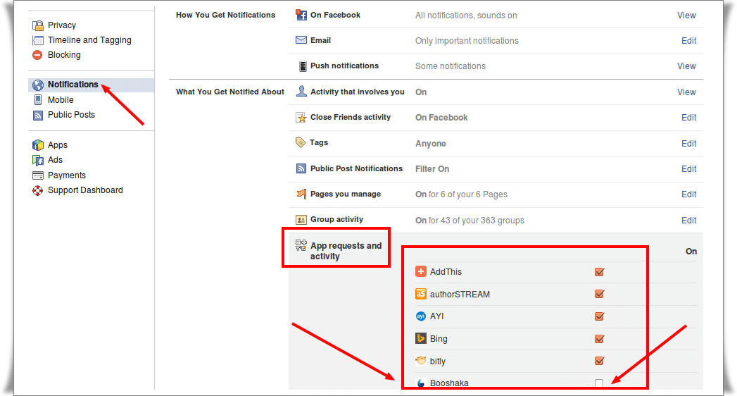 Notifications Settings in Facebook
