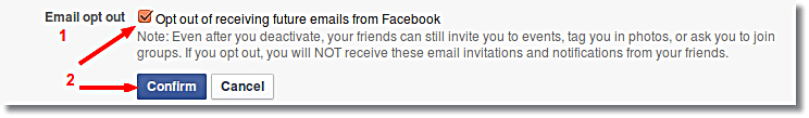 Optout from email in Facebook