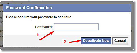 Password required to deactivate Facebook account