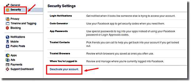 Choose Security in Facebook
