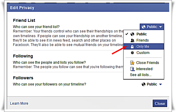 Hide Facebook friend list from other - select only me