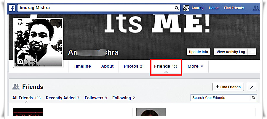 Hide Friend list on Facebook from other - Click on Friend tab