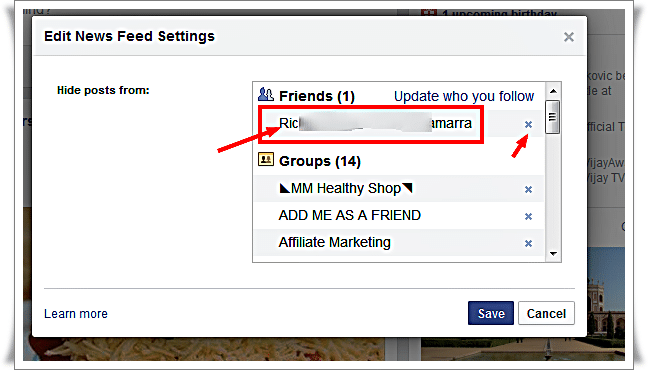 New Feed Edit setting - Unfriend Facebook Friend