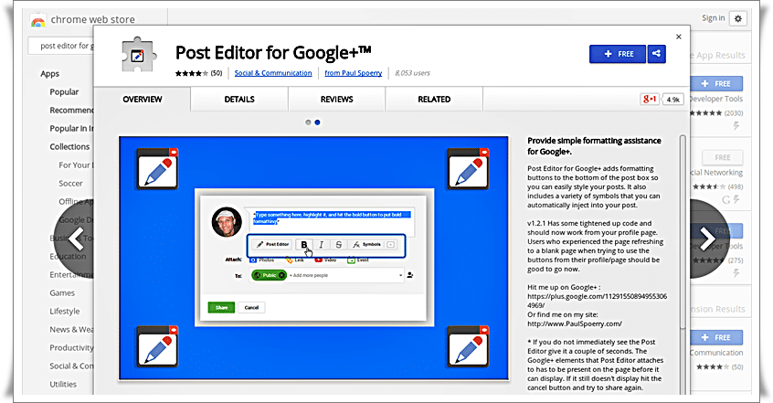 Post editor for google plus