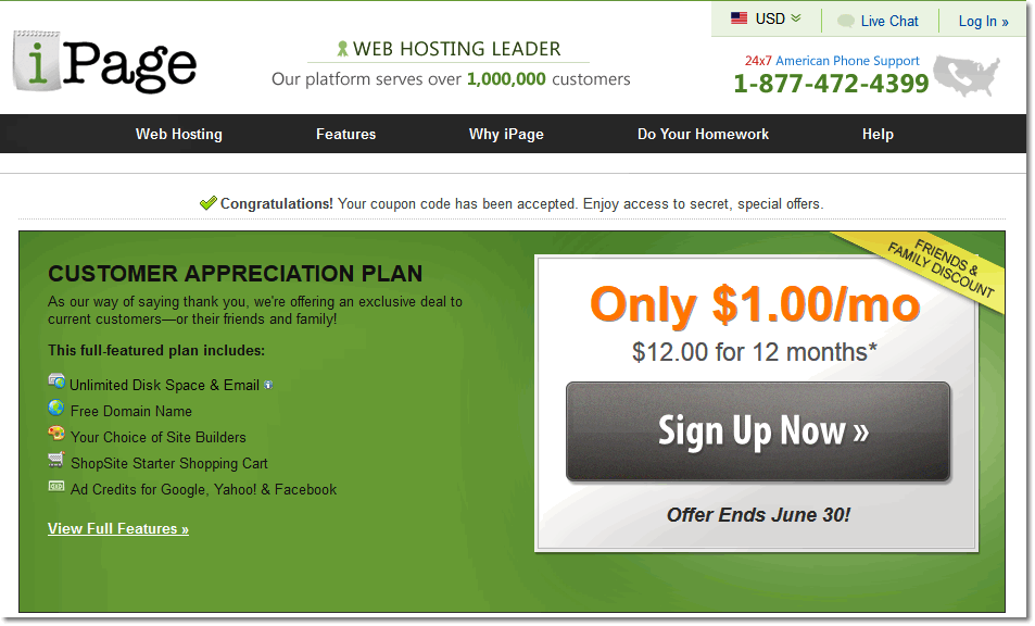 iPage Coupon Code 2015 - $1 per month - iPage Secret Offer Area