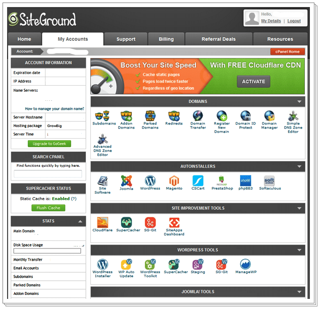 SiteGround Review - SiteGround cPanel