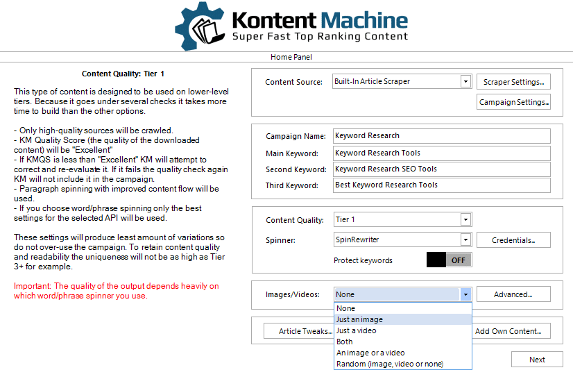 Kontent Machine Review - Images-Video Setting