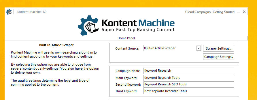 Kontent Machine Review - Step1_Build in Scraper Setting