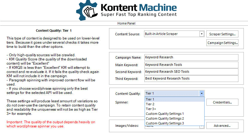 Kontent Machine Review - Step3_Content Quality Setting