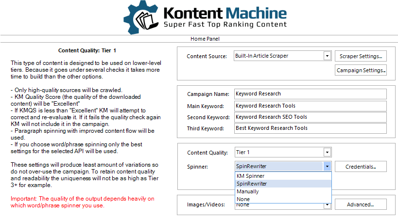 Kontent Machine Review - Step4_Spinner Setting