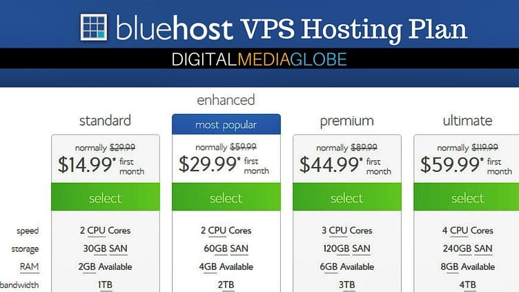 BlueHost Hosting Review - VPS Hosting Plan 73