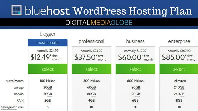 BlueHost Hosting Review - WordPress Hosting Plan 73