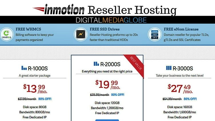 InMotion Web Hosting Review - Reseller Hosting Plans with SSD 74s, cPanel & WHMCS