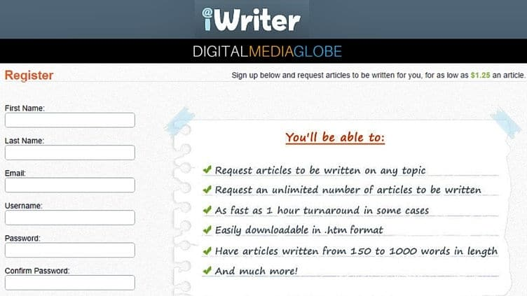 iWriter - Sign Up form 71