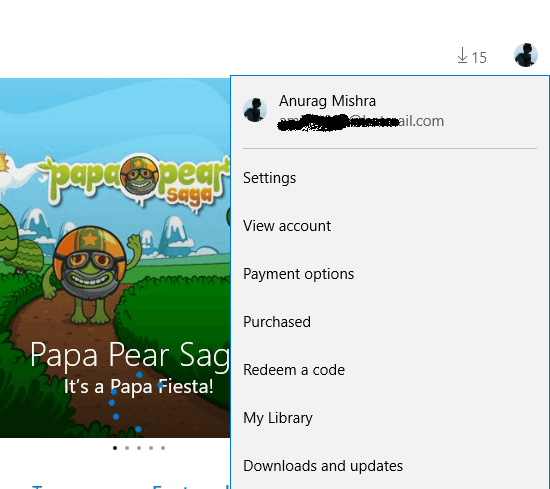 Window 10 Apps Store setting