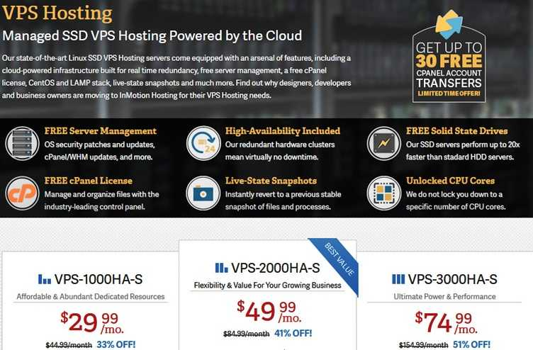InMotion hosting coupons - VPS Hosting with Free SSDs - InMotion Hosting