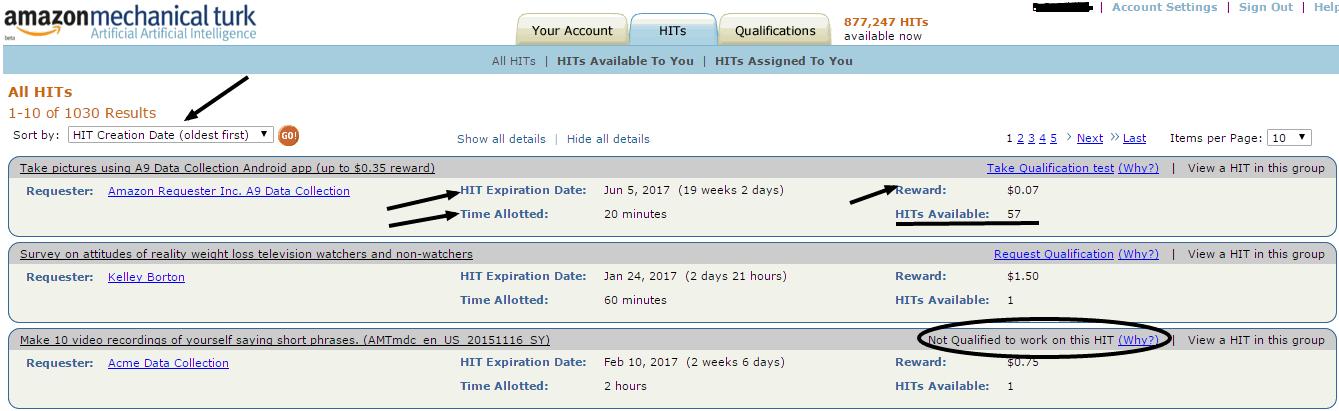Amazon Mechanical Turk All HITs