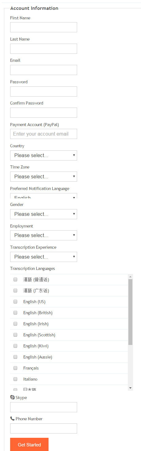 Transcribeme Register