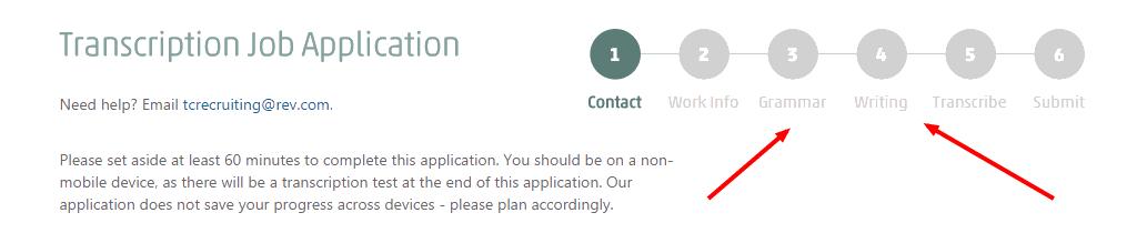 Rev Freelance Transcription Jobs Online application Step 1