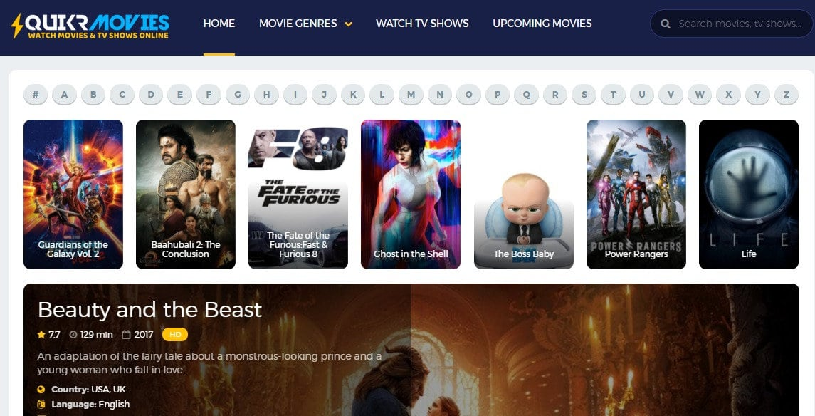 QuikrMovies - Download movies for free or watch online