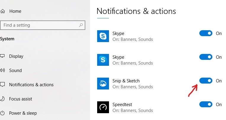Window 10 Notification and Actions