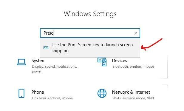 Window Settings PrtScr for Shortcut key