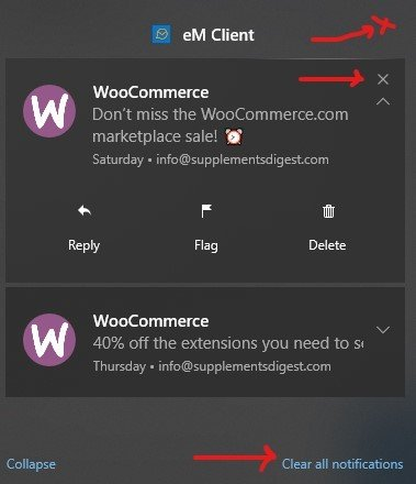 Manage Notification in Action Center