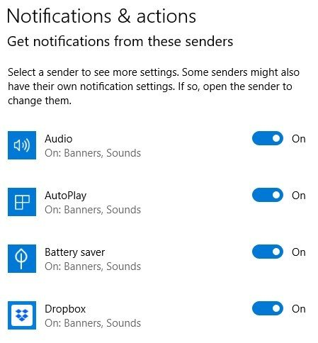Notifications and Actions - Get notification from these senders