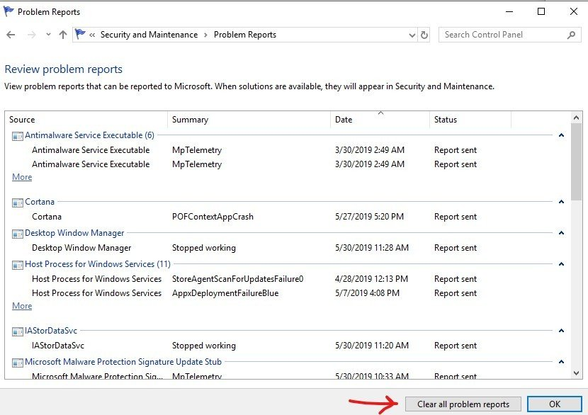 clear-problem-reports-in-windows-10: Problem report Fig 6