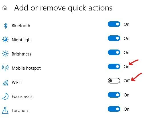 Quick actions buttons Toggle ON or OFF