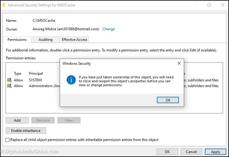 Advanced Security Settings for MSOCache Windows Security message 6