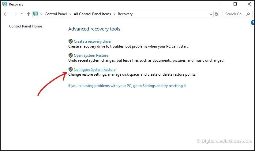 Configure system restore 4(b)