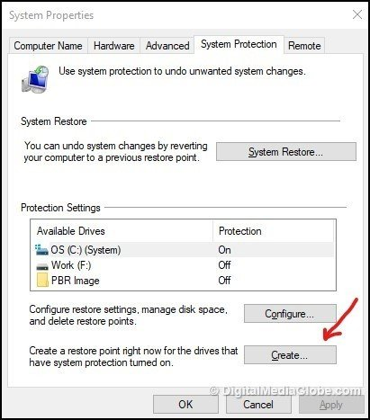 Create System Restore Point 5(a)