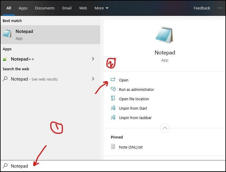 Open Notepad by searching - 2 - DigitalMediaGlobe