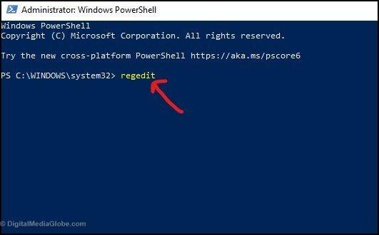 Open Registry Editor Using Windows Power shell 4(b)