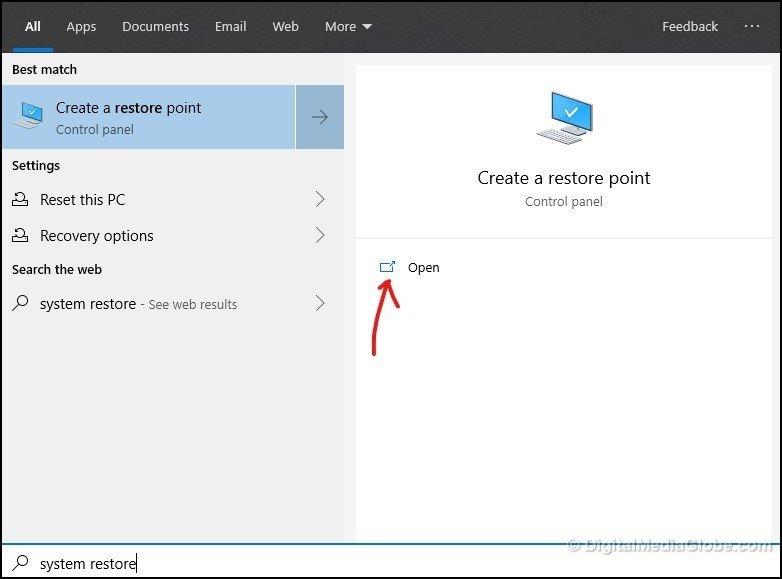 Open System Restore in Windows 1