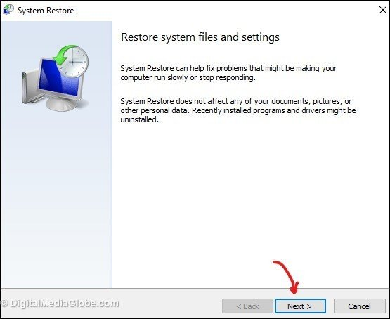Restore system files and settings 6(b)