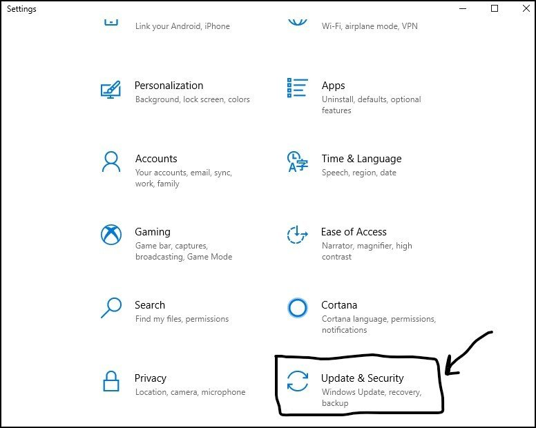 Settings - Update and Security - DigitalMediaGlobe