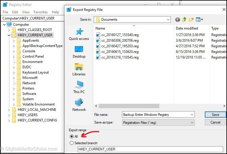 Step 3 - Backup Entire Windows Registry 3