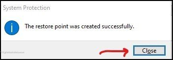 System restore point created successfully 5(d)
