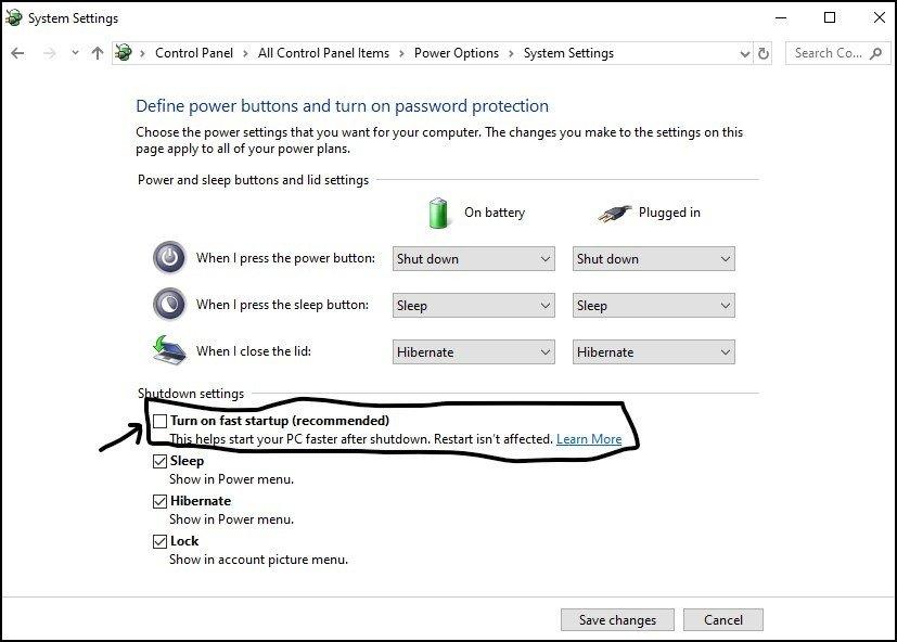 Windows 10 - Turn on fast startup - 7